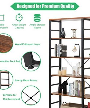 Tangkula 80 Inches Double 6 Shelf Bookcase Industrial Style Double 6 Tier Bookshelf Large Open Bookcases WMetal Frame Ample Storage Display Bookshelf For Home Office 60 L X 135 W X 80 H 0 4 300x360