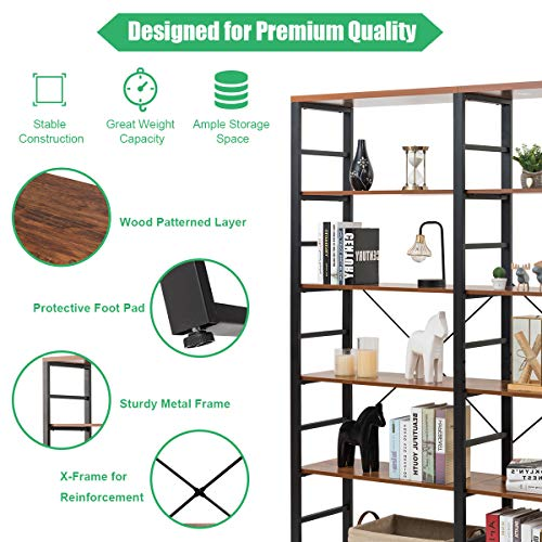Tangkula 80 Inches Double 6 Shelf Bookcase Industrial Style Double 6 Tier Bookshelf Large Open Bookcases WMetal Frame Ample Storage Display Bookshelf For Home Office 60 L X 135 W X 80 H 0 4