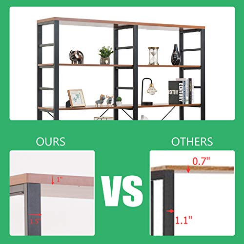 Tangkula 80 Inches Double 6 Shelf Bookcase Industrial Style Double 6 Tier Bookshelf Large Open Bookcases WMetal Frame Ample Storage Display Bookshelf For Home Office 60 L X 135 W X 80 H 0 5