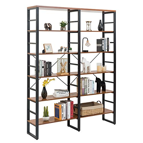 Tangkula 80 Inches Double 6 Shelf Bookcase Industrial Style Double 6 Tier Bookshelf Large Open Bookcases WMetal Frame Ample Storage Display Bookshelf For Home Office 60 L X 135 W X 80 H 0