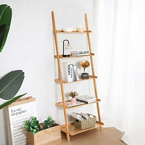 Tangkula Bamboo 5 Tier Ladder Shelf Bookshelf Wall Leaning Bookshelf Plant Flower Stand Storage Display Shelves For Living Room Bathroom Office Multifunctional Ladder Bookcase Natural 0 0