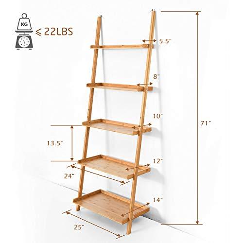 Tangkula Bamboo 5 Tier Ladder Shelf Bookshelf Wall Leaning Bookshelf Plant Flower Stand Storage Display Shelves For Living Room Bathroom Office Multifunctional Ladder Bookcase Natural 0 2