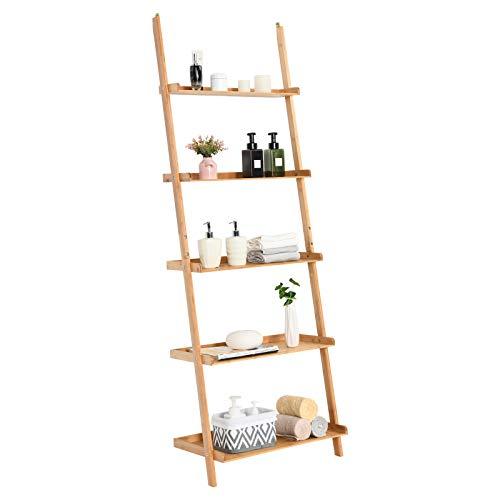 Tangkula Bamboo 5 Tier Ladder Shelf Bookshelf Wall Leaning Bookshelf Plant Flower Stand Storage Display Shelves For Living Room Bathroom Office Multifunctional Ladder Bookcase Natural 0