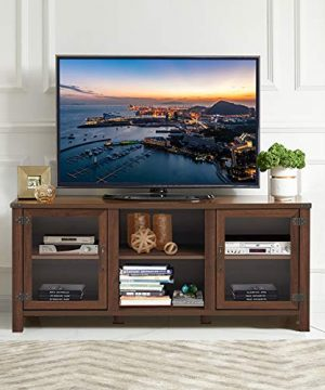 Tangkula Farmhouse TV Stand Living Room Console Storage Cabinet For TVs Up To 65 Flat Screen Wood Media Entertainment Center WAdjustable Shelves 2 Cabinets With Tempered Glass Doors Walnut 0 0 300x360