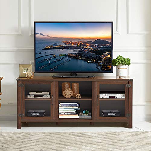 Tangkula Farmhouse TV Stand Living Room Console Storage Cabinet For TVs Up To 65 Flat Screen Wood Media Entertainment Center WAdjustable Shelves 2 Cabinets With Tempered Glass Doors Walnut 0 0