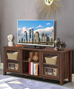 Tangkula Farmhouse TV Stand Living Room Console Storage Cabinet For TVs Up To 65 Flat Screen Wood Media Entertainment Center WAdjustable Shelves 2 Cabinets With Tempered Glass Doors Walnut 0 1 300x360