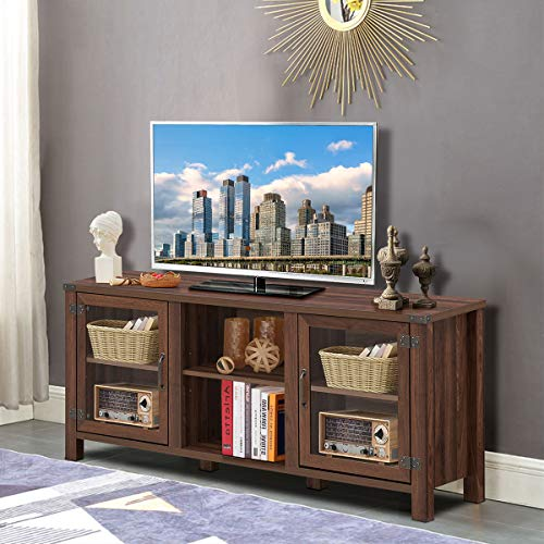 Tangkula Farmhouse TV Stand Living Room Console Storage Cabinet For TVs Up To 65 Flat Screen Wood Media Entertainment Center WAdjustable Shelves 2 Cabinets With Tempered Glass Doors Walnut 0 1
