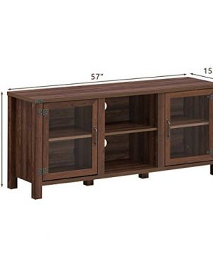 Tangkula Farmhouse TV Stand Living Room Console Storage Cabinet For TVs Up To 65 Flat Screen Wood Media Entertainment Center WAdjustable Shelves 2 Cabinets With Tempered Glass Doors Walnut 0 2 300x360