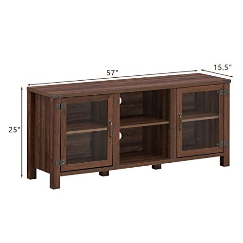 Tangkula Farmhouse TV Stand Living Room Console Storage Cabinet For TVs Up To 65 Flat Screen Wood Media Entertainment Center WAdjustable Shelves 2 Cabinets With Tempered Glass Doors Walnut 0 2