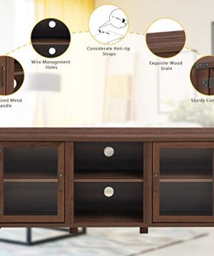 Tangkula Farmhouse TV Stand Living Room Console Storage Cabinet For TVs Up To 65 Flat Screen Wood Media Entertainment Center WAdjustable Shelves 2 Cabinets With Tempered Glass Doors Walnut 0 3 300x360