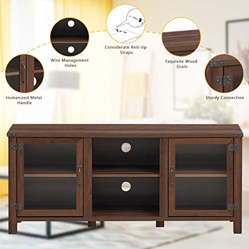 Tangkula Farmhouse TV Stand Living Room Console Storage Cabinet For TVs Up To 65 Flat Screen Wood Media Entertainment Center WAdjustable Shelves 2 Cabinets With Tempered Glass Doors Walnut 0 3