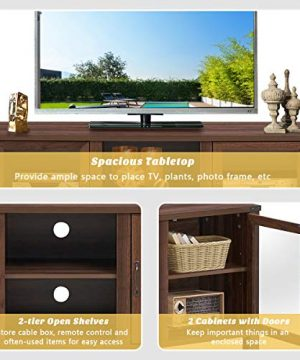 Tangkula Farmhouse TV Stand Living Room Console Storage Cabinet For TVs Up To 65 Flat Screen Wood Media Entertainment Center WAdjustable Shelves 2 Cabinets With Tempered Glass Doors Walnut 0 4 300x360