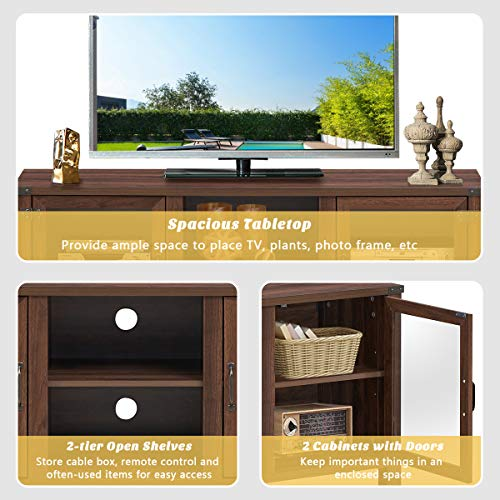 Tangkula Farmhouse TV Stand Living Room Console Storage Cabinet For TVs Up To 65 Flat Screen Wood Media Entertainment Center WAdjustable Shelves 2 Cabinets With Tempered Glass Doors Walnut 0 4