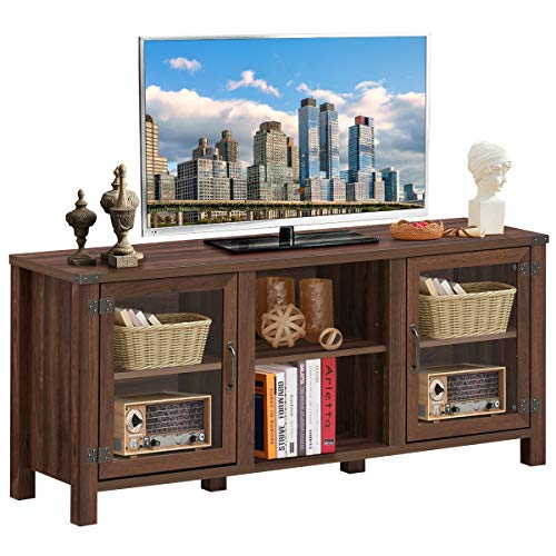 Tangkula Farmhouse TV Stand Living Room Console Storage Cabinet For TVs Up To 65 Flat Screen Wood Media Entertainment Center WAdjustable Shelves 2 Cabinets With Tempered Glass Doors Walnut 0