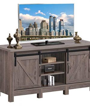 Tangkula Farmhouse TV Stand With Sliding Barn Door Wood Universal TV Console For TVs Up To 55 Flat Screen For Living Room Storage Cabinet With 2 Gliding Doors Adjustable Shelves Deep Taupe 0 300x360