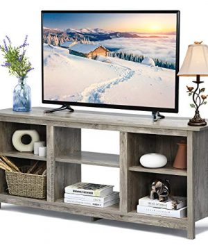 Tangkula Farmhouse Universal TV Stand For TVs Up To 65 Flat Screen Home Living Room Entertainment Center W4 Open Shelves TV Console Table For 18 Inch Electric Fireplace Not Included Grey 0 300x360