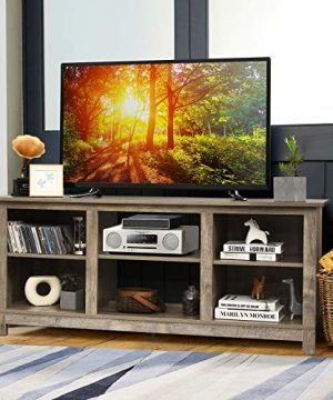 Tangkula Farmhouse Wood Universal TV Stand For TVs Up To 65 Rustic TV Console Table WOpen 6 Shelves Living Room Media Entertainment Center For 18 Electric Fireplace Not Included Grey 0 0 300x360