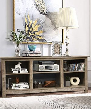 Tangkula Farmhouse Wood Universal TV Stand For TVs Up To 65 Rustic TV Console Table WOpen 6 Shelves Living Room Media Entertainment Center For 18 Electric Fireplace Not Included Grey 0 1 300x360