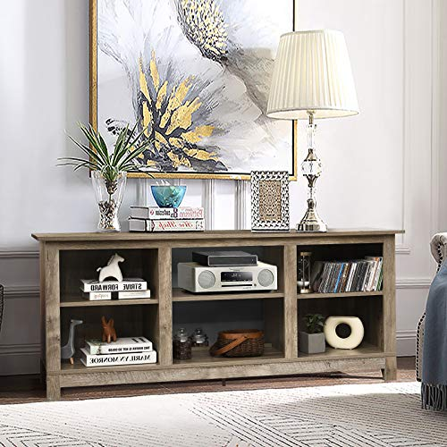 Tangkula Farmhouse Wood Universal TV Stand For TVs Up To 65 Rustic TV Console Table WOpen 6 Shelves Living Room Media Entertainment Center For 18 Electric Fireplace Not Included Grey 0 1