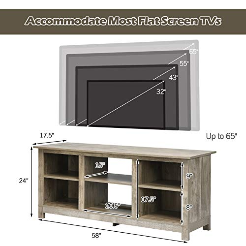 Tangkula Farmhouse Wood Universal TV Stand For TVs Up To 65 Rustic TV Console Table WOpen 6 Shelves Living Room Media Entertainment Center For 18 Electric Fireplace Not Included Grey 0 2