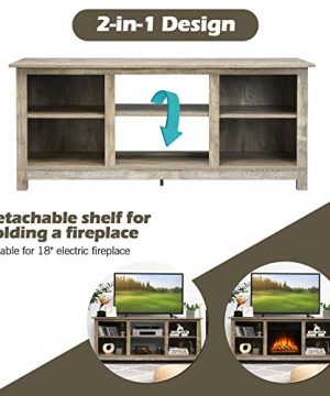 Tangkula Farmhouse Wood Universal TV Stand For TVs Up To 65 Rustic TV Console Table WOpen 6 Shelves Living Room Media Entertainment Center For 18 Electric Fireplace Not Included Grey 0 4 300x360