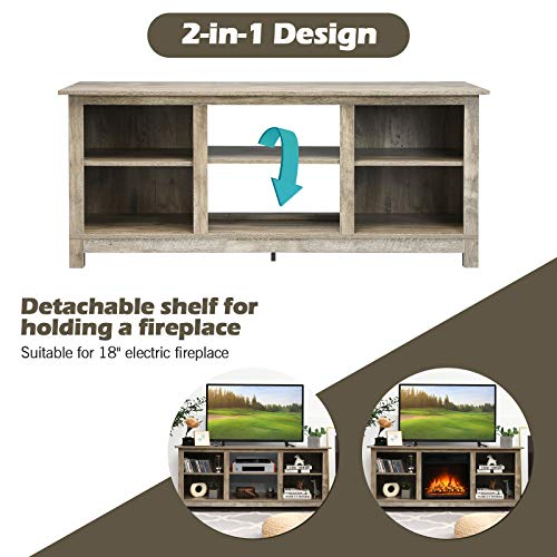 Tangkula Farmhouse Wood Universal TV Stand For TVs Up To 65 Rustic TV Console Table WOpen 6 Shelves Living Room Media Entertainment Center For 18 Electric Fireplace Not Included Grey 0 4