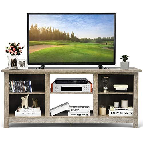 Tangkula Farmhouse Wood Universal TV Stand For TVs Up To 65 Rustic TV Console Table WOpen 6 Shelves Living Room Media Entertainment Center For 18 Electric Fireplace Not Included Grey 0