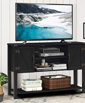 Tangkula TV Stand Up To 60 Inch TVs Modern Entertainment Center Stand With 2 Side Door Cabinets Ample Storage Space Multi Functional Stand For Living Room Home Office Decor TV Console Black 0 0 300x360