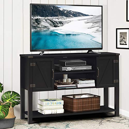 Tangkula TV Stand Up To 60 Inch TVs Modern Entertainment Center Stand With 2 Side Door Cabinets Ample Storage Space Multi Functional Stand For Living Room Home Office Decor TV Console Black 0 0