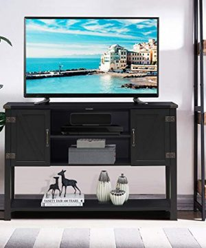 Tangkula TV Stand Up To 60 Inch TVs Modern Entertainment Center Stand With 2 Side Door Cabinets Ample Storage Space Multi Functional Stand For Living Room Home Office Decor TV Console Black 0 1 300x360