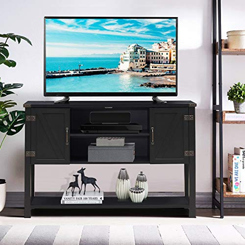 Tangkula TV Stand Up To 60 Inch TVs Modern Entertainment Center Stand With 2 Side Door Cabinets Ample Storage Space Multi Functional Stand For Living Room Home Office Decor TV Console Black 0 1