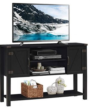 Tangkula TV Stand Up To 60 Inch TVs Modern Entertainment Center Stand With 2 Side Door Cabinets Ample Storage Space Multi Functional Stand For Living Room Home Office Decor TV Console Black 0 300x360