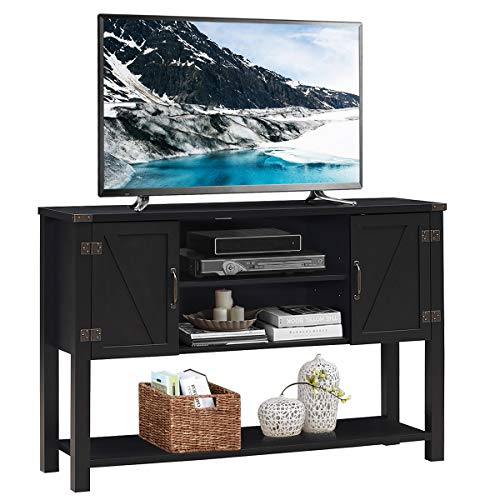 Tangkula TV Stand Up To 60 Inch TVs Modern Entertainment Center Stand With 2 Side Door Cabinets Ample Storage Space Multi Functional Stand For Living Room Home Office Decor TV Console Black 0
