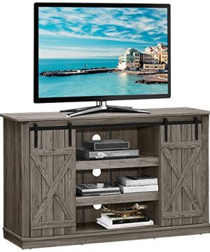 Tangkula TV Stand Up To 60 Inches Farmhouse Wood TV Stand With Sliding Barn Doors Side Sliding Door Height Adjustable Shelves Wooden TV Cabinet For Home Living Room Barn Door TV Stand Grey 0 300x360