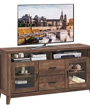 Tangkula Wooden TV Stand For TVs Up To 65 Inch Retro Style Tall TV Stand With Drawers Tempered Glass Doors Rustic Media Storage Console Cabinet For Living Room TV Entertainment Center Walnut 0 300x360