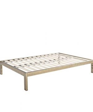 The Frame Gold Brushed Steel Frame 14 Inch Height Platform Metal Bed FrameMattress Foundation No Boxspring Needed Wooden Slat Support King Size 0 300x360