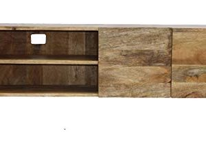 The Urban Port 38930 Industrial Style TV Stand With Storage Cabinet Natural Wood Finish 0 300x216