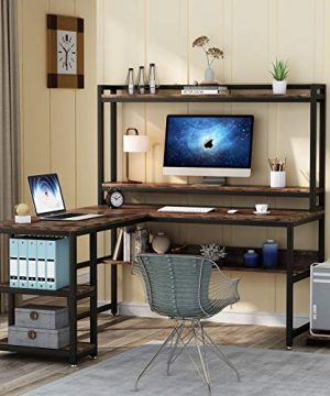 Tribesigns L Shaped Desk With Hutch And Storage Shelves 59 Inch Corner Computer Office Desk Gaming Table Workstation With Bookshelf And Monitor Stand For Home OfficeRustic Brown 0 0 300x360