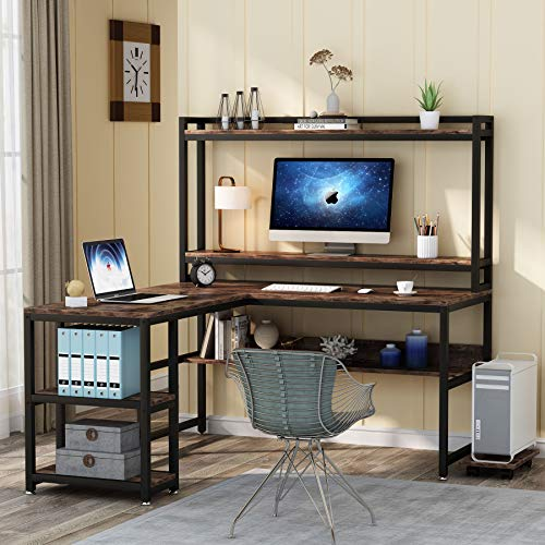 Tribesigns L Shaped Desk With Hutch And Storage Shelves 59 Inch Corner Computer Office Desk Gaming Table Workstation With Bookshelf And Monitor Stand For Home OfficeRustic Brown 0 0