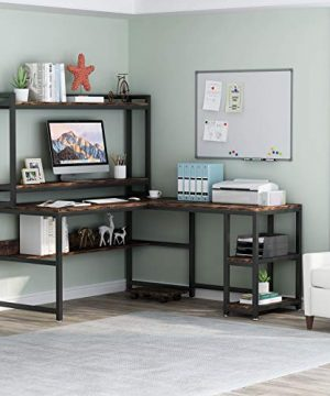 Tribesigns L Shaped Desk With Hutch And Storage Shelves 59 Inch Corner Computer Office Desk Gaming Table Workstation With Bookshelf And Monitor Stand For Home OfficeRustic Brown 0 1 300x360