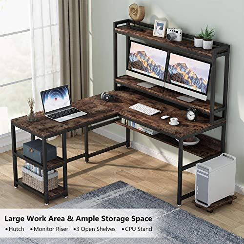 Tribesigns L Shaped Desk With Hutch And Storage Shelves 59 Inch Corner Computer Office Desk Gaming Table Workstation With Bookshelf And Monitor Stand For Home OfficeRustic Brown 0 2