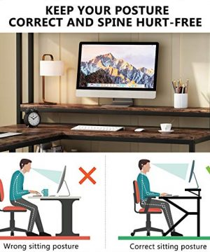 Tribesigns L Shaped Desk With Hutch And Storage Shelves 59 Inch Corner Computer Office Desk Gaming Table Workstation With Bookshelf And Monitor Stand For Home OfficeRustic Brown 0 3 300x360