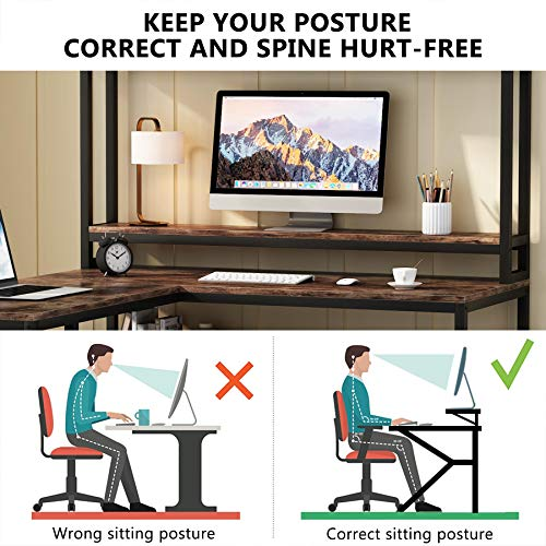 Tribesigns L Shaped Desk With Hutch And Storage Shelves 59 Inch Corner Computer Office Desk Gaming Table Workstation With Bookshelf And Monitor Stand For Home OfficeRustic Brown 0 3