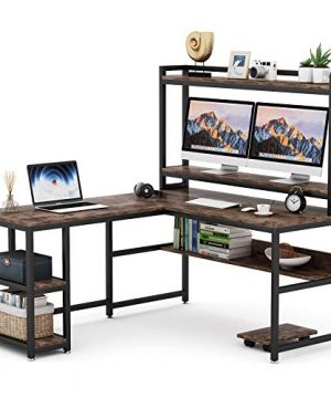 Tribesigns L Shaped Desk With Hutch And Storage Shelves 59 Inch Corner Computer Office Desk Gaming Table Workstation With Bookshelf And Monitor Stand For Home OfficeRustic Brown 0 300x360