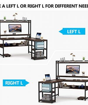 Tribesigns L Shaped Desk With Hutch And Storage Shelves 59 Inch Corner Computer Office Desk Gaming Table Workstation With Bookshelf And Monitor Stand For Home OfficeRustic Brown 0 4 300x360