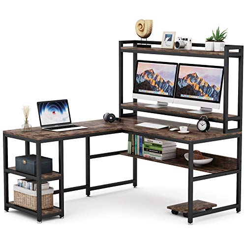 Tribesigns L Shaped Desk With Hutch And Storage Shelves 59 Inch Corner Computer Office Desk Gaming Table Workstation With Bookshelf And Monitor Stand For Home OfficeRustic Brown 0