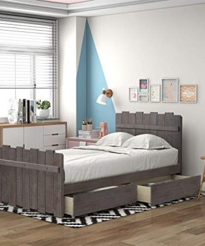 Twin Bed Frame With Storage Drawers Wooden Platform Bed Frame With Vintage Fence Shaped Headboard And Footboard Rustic Style Gray 0 300x360