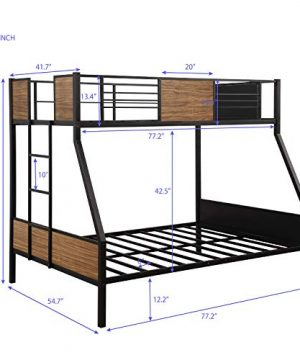 Twin Over Full Bunk Bed Frame Rustic Bed Frame Metal And Wood 0 300x360
