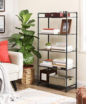 VASAGLE 5 Tier Storage Rack Customizable Industrial Extendable Plant Stand With Adjustable Shelves 251 X 12 X 51 Inches For Living Room Balcony Kitchen Rustic Brown And Black UBSC26BX 0 0 300x360