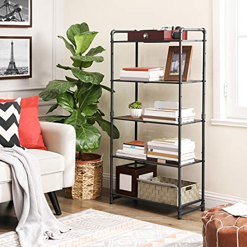 VASAGLE 5 Tier Storage Rack Customizable Industrial Extendable Plant Stand With Adjustable Shelves 251 X 12 X 51 Inches For Living Room Balcony Kitchen Rustic Brown And Black UBSC26BX 0 0